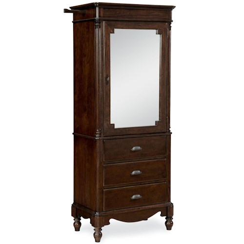 Universal River House Dressing Armoire with Mirrored Door and Turned Feet