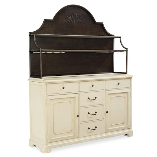 Universal River House Home Cooking Cupboard with Metal Hutch and 6 Drawers