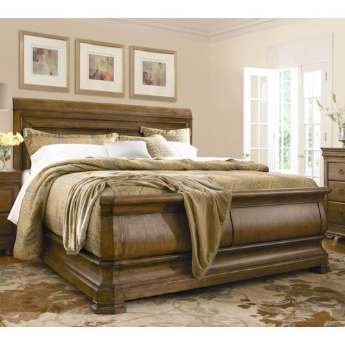 Universal New Lou California King Louie P's Sleigh Bed