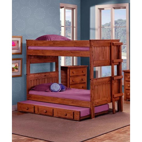 Pine Crafter Youth Bedroom Full/Full Bunk Bed with Ladder (Trundle not included.)