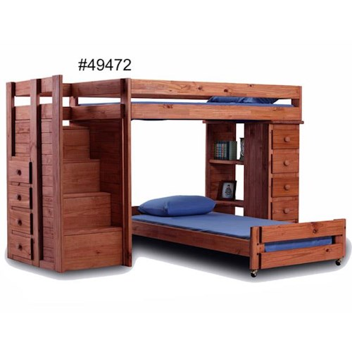 Pine Crafter Youth Bedroom Twin over Full Loft Bed with Staircase and Storage