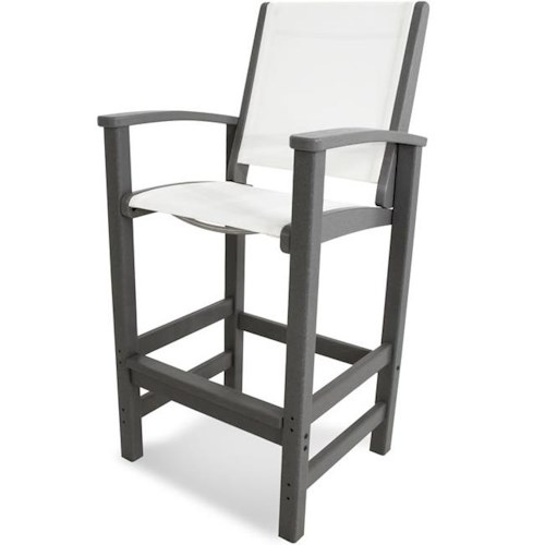 Polywood Coastal Collection Bar Chair with Sling Seat and Back