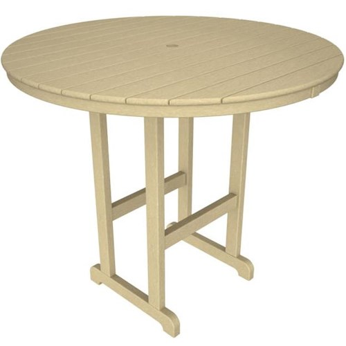 Polywood La Casa Cafe Round Bar Table with Slat Design