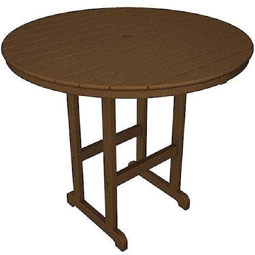 Polywood La Casa Cafe Round Bar Table with Slat Design