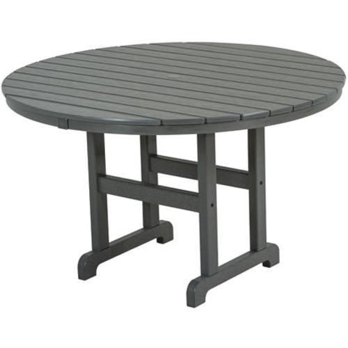Polywood La Casa Cafe Round Dining Table with Slat Design