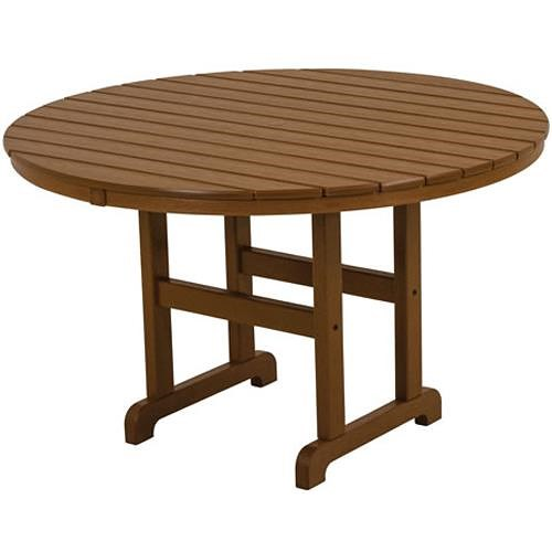 Polywood La Casa Cafe Round Dining Table with Slat Design