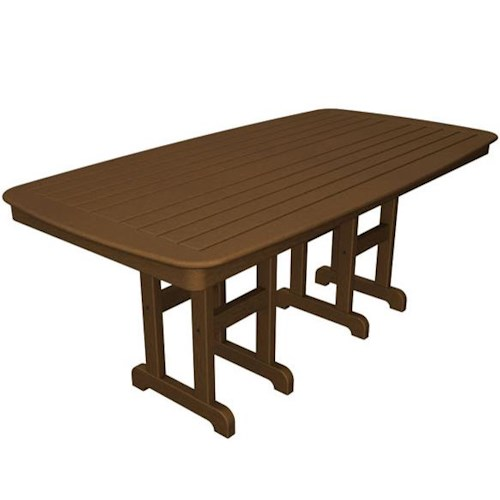 Polywood Nautical Outdoor Dining Table with Slat Design