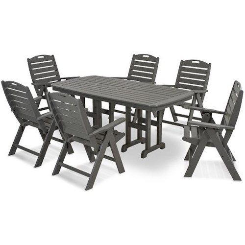 Polywood Nautical Dining Table and Chair Set with 6 Chairs