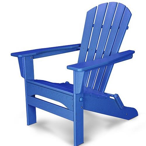 Polywood Palm Coast Folding Adirondack Chair with Slat Design