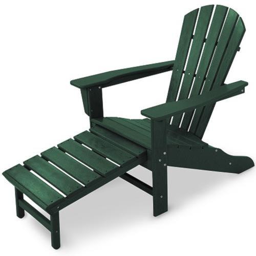 Polywood Palm Coast Adirondack Lounge Chair with Hideaway Ottoman and Slat Design