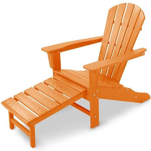Polywood Palm Coast Adirondack Lounge Chair with Hideaway Ottoman and Slat Design