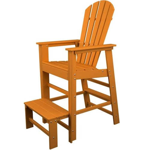 Polywood South Beach Lifeguard Chair with Footrest and Slat Design