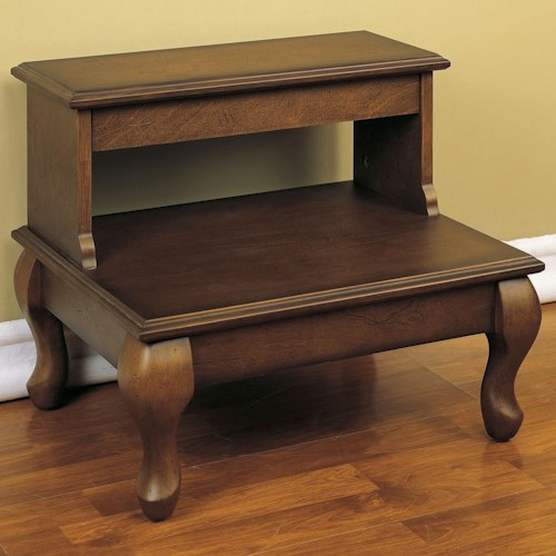 Powell Antique Cherry Bed Steps with Drawer