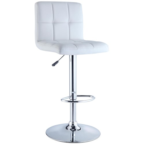 Powell Misc. Bars & Game Room White Quilted Faux Leather Bar Stool with Adjustable Chrome Base