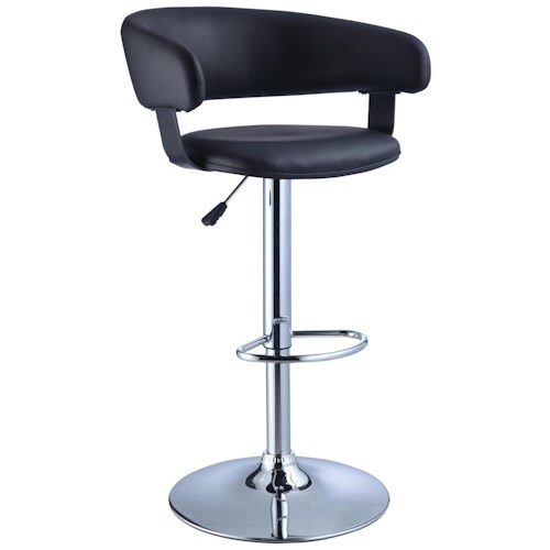 Powell Misc. Bars & Game Room Black Faux Leather Barrel Back Bar Stool with Adjustable Height