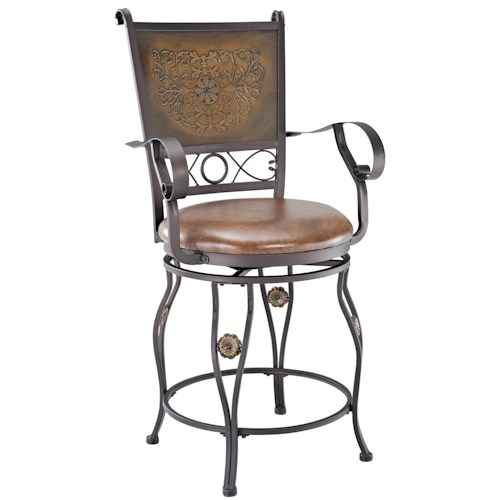 Powell Big and Tall Copper Stamped Back Counter Stool with Arms