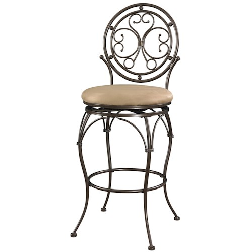 Powell Big and Tall Scroll Circle Back Barstool with Upholstered Seat