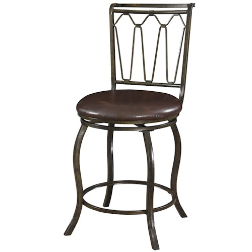 Powell Big and Tall Triple Cone Counter Stool with Upholstered Seat