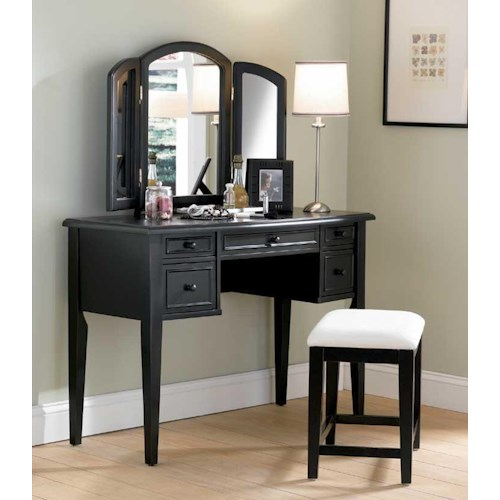 Powell Black Black Vanity, Mirror & Stool