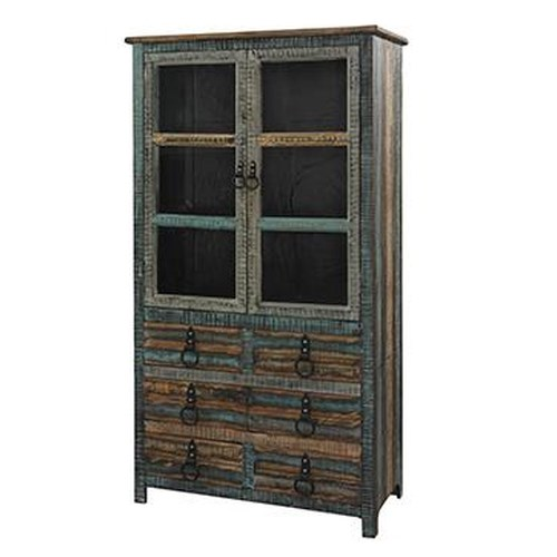 Powell Calypso High Cabinet w/ Glass Doors