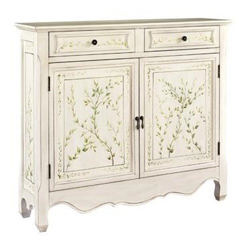 Powell Consoles  White Hand Painted 2-Door Console with Curved Bottom