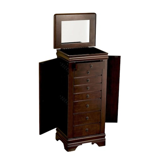 "Powell Jewelry Armoire Louis Phillipe ""Marquis Cherry"" Jewelry Armoire"