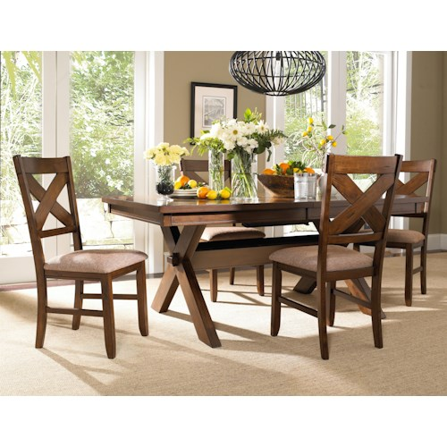 Powell Kraven 5 Piece Dark Hazelnut Dining Set with Upholstered Side Chairs