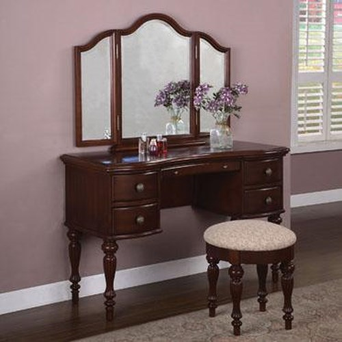 Powell Marquis Cherry Vanity with Mirror and Bench