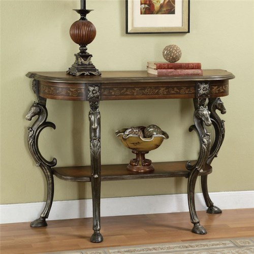 Powell Masterpiece Floral Demilune Console Table with Horse Head