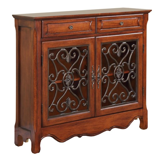 Powell Accents 2 Door Light Cherry Console Cabinet with 2 Drawers