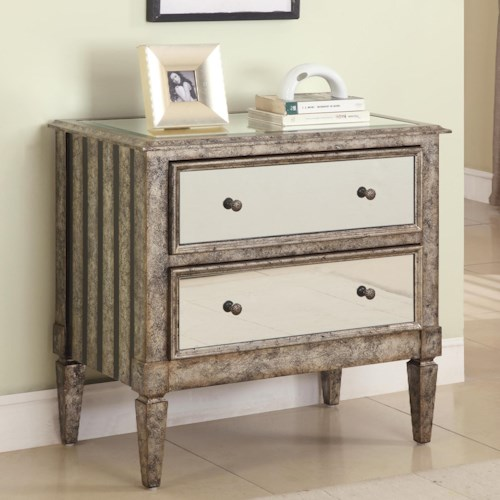 Powell Accents 2-Drawer Mirrorered Chest in Antique Silver