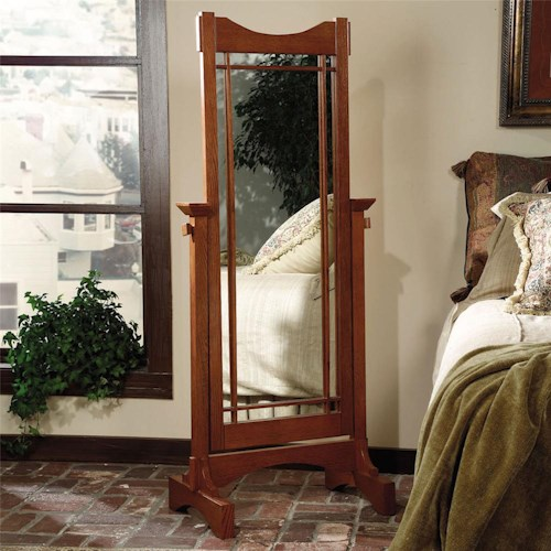 Powell Mission Oak Cheval Floor Mirror