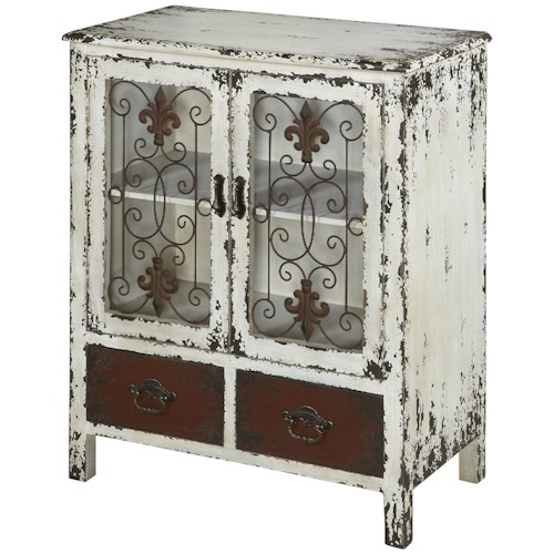 Powell Parcel 2 Door Distressed White Console Cabinet with 2 Drawers