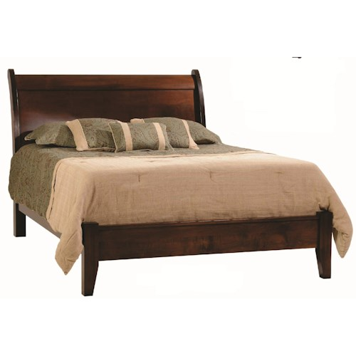 Rotmans Amish Huntington Shaker King Solid Wood Sleigh Bed with Low Footboard