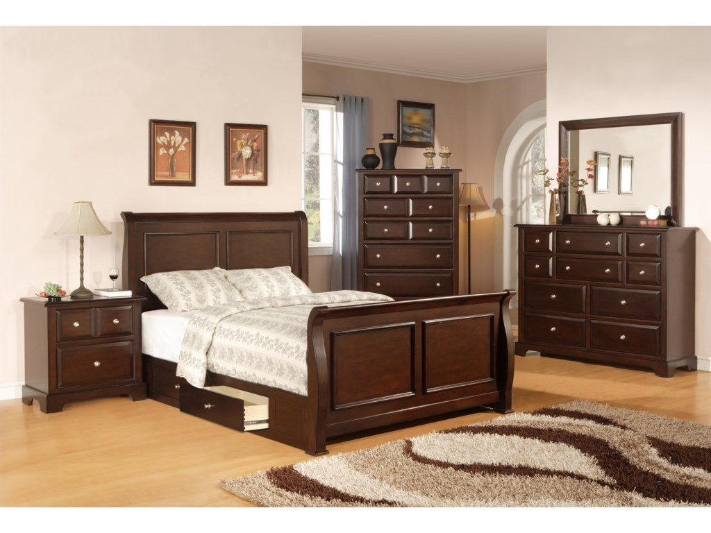 Shown with Bed, Nightstand, Chest, and Mirror