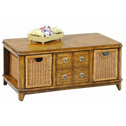 Progressive Furniture Anaronda Rectangular Cocktail Table with Pull Out Baskets
