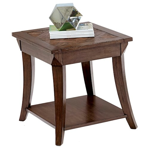 Progressive Furniture Appeal I Rectangular End Table with Parquet Table Top