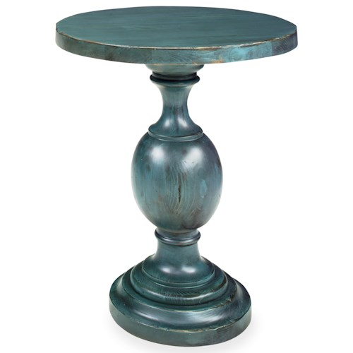 Progressive Furniture Bailey Round Chairside Table/Bedside Table with Turned Pedestal Base