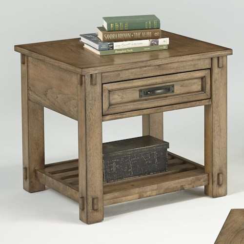 Progressive Furniture Boulder Creek Square Lamp Table with Drawer and Plank Shelf