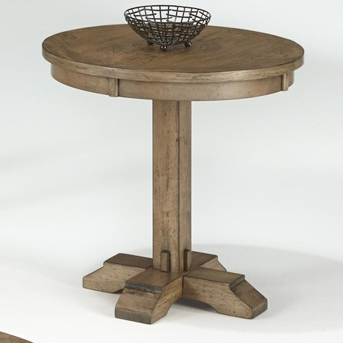 Progressive Furniture Boulder Creek Round Pedestal Table with Pecan Veneers