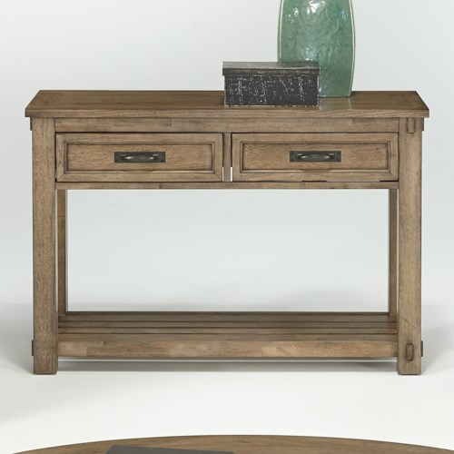 Progressive Furniture Boulder Creek Sofa/Console Table with 2 Drawers & Plank Shelf