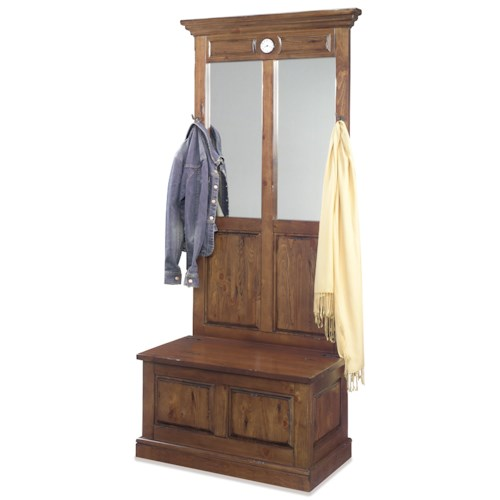 Progressive Furniture Carrington Traditional Clock Hall Tree with Mirrors and Storage Bench