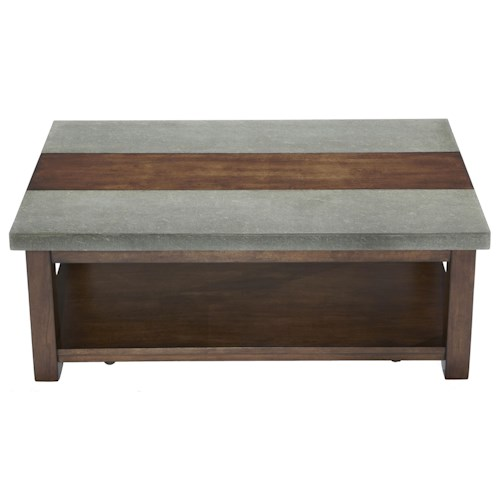 Progressive Furniture Cascade Rectangular Cocktail Table with Birch & Cement Table Top