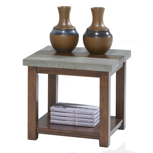 Progressive Furniture Cascade Square Lamp Table with Birch & Cement Table Top