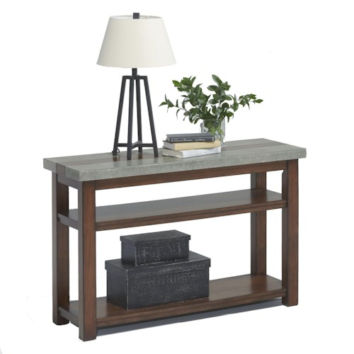 Progressive Furniture Cascade Sofa/Console Table with Birch & Cement Table Top