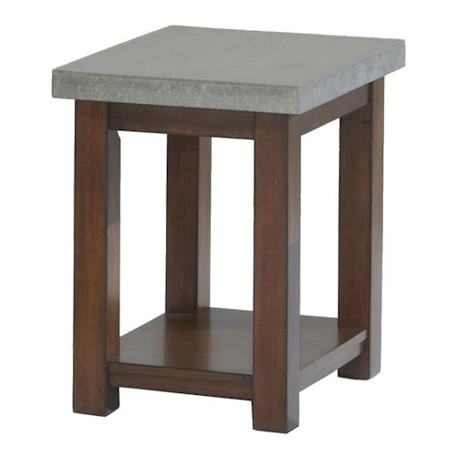 Progressive Furniture Cascade Chairside Table with Cement Table Top