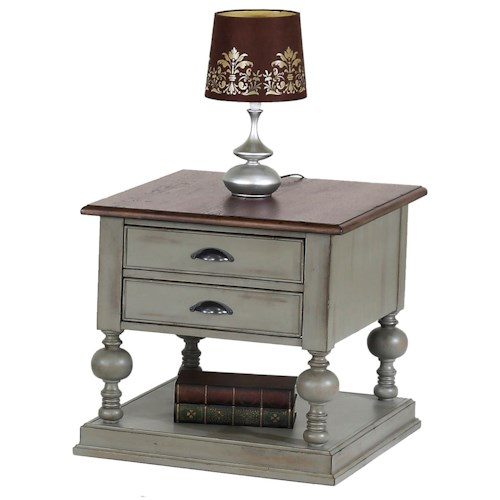 Progressive Furniture Colonnades Weathered Gray/Oak Rectangular End Table