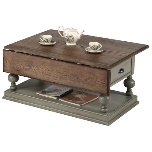 Progressive Furniture Colonnades Weathered Gray/Oak Drop-Leaf Cocktail Table
