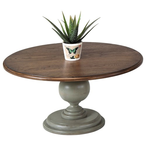 Progressive Furniture Colonnades Weathered Gray/Oak Round Pedestal Cocktail Table