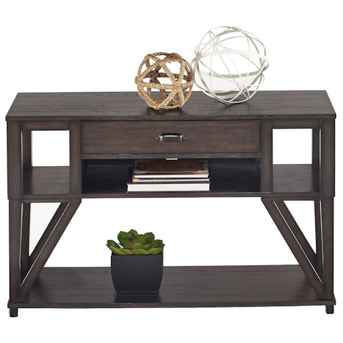 Progressive Furniture Consort Oak Veneer Sofa/Console Table with Component Shelf